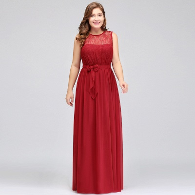 Summer Crew Long Sleeveless Plus size Chiffon Evening Dresses with Ruffles Bow_9