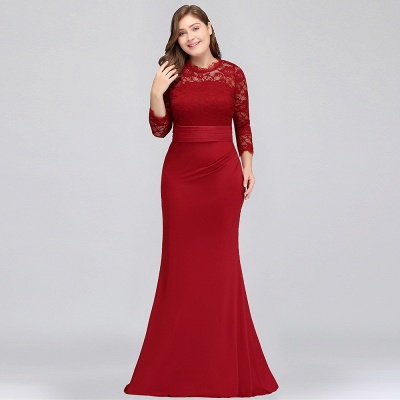 Sexy Trumpt Crew Floor Length Plus size Lace Formal Dresses with Sash_10