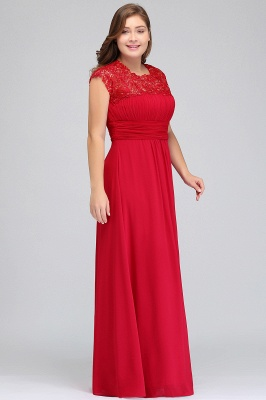 Summer Crew Floor length Plus size Cap sleeves Lace Chiffon Evening Dresses with Appliques_8