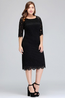 Sexy Trumpt Bateau Tea Length Plus size Lace Black Evening Dresses with sleeves_7