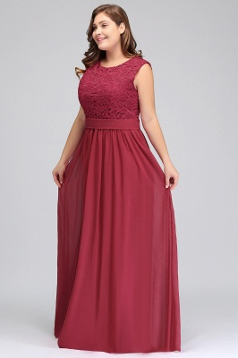 Summer Crew Long Plus size Sleeveless Lace Chiffon Evening Dresses with Sash_7