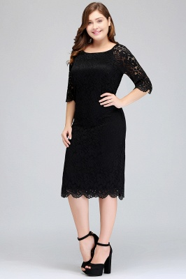 Sexy Trumpt Bateau Tea Length Plus size Lace Black Evening Dresses with sleeves_4