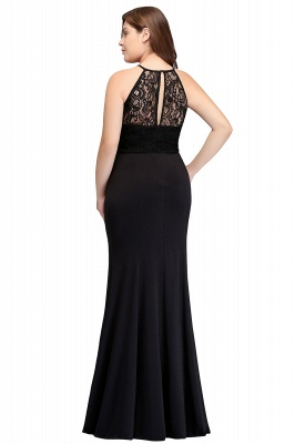 Sexy Trumpt Halter Floor Length Plus size Black Evening Dresses with Lace_3
