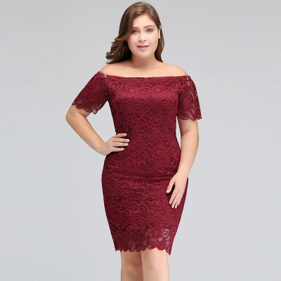 Sexy Trumpt Off-Shoulder Short Plus size Lace Burgundy Cocktail Dresses with Sleeves_9