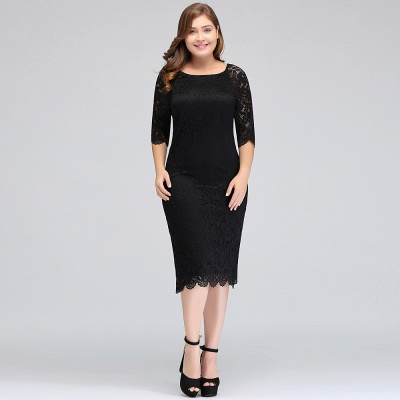 Sexy Trumpt Bateau Tea Length Plus size Lace Black Evening Dresses with sleeves_8