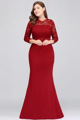 Sexy Trumpt Crew Floor Length Plus size Lace Formal Dresses with Sash_9