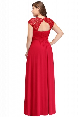 Summer Crew Floor length Plus size Cap sleeves Lace Chiffon Evening Dresses with Appliques_3