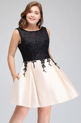 Modest Scoop Short Sleeveless Plus size Cocktail Dresses with Appliques_4