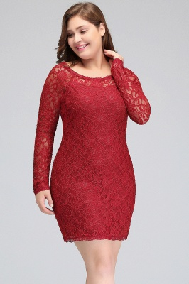 Column Scoop Short Winter Plus size Lace Burgundy Cocktail Dresses_9