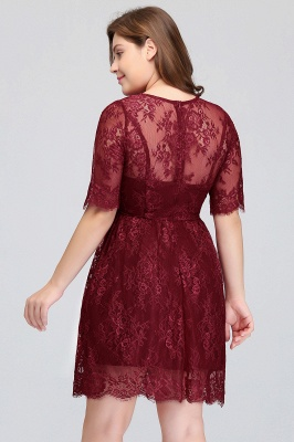 Summer Crew Plus size Half Sleeves Short Lace Burgundy Cocktail Dresses_9