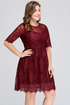 Summer Crew Plus size Half Sleeves Short Lace Burgundy Cocktail Dresses_5