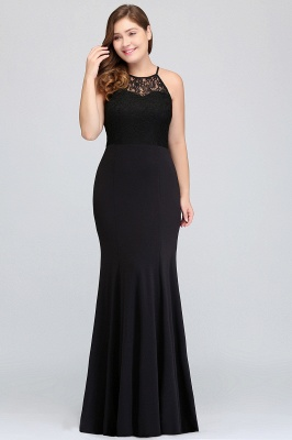 Sexy Trumpt Halter Floor Length Plus size Black Evening Dresses with Lace_7