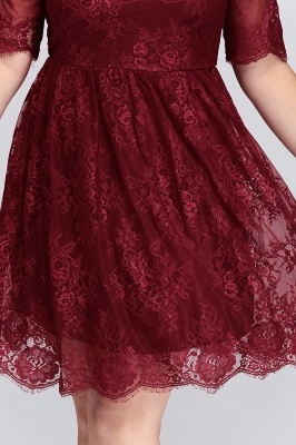 Summer Crew Plus size Half Sleeves Short Lace Burgundy Cocktail Dresses_10