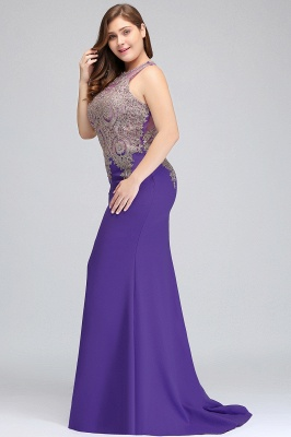 Sexy Trumpt Crew Floor Length Sleeveless Plus size Evening Dresses with Appliques_6