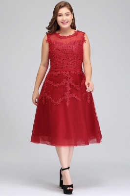 Summer Crew Tea Length Plus size Sleeveless Tulle Burgundy Cocktail Dresses with Appliques_5