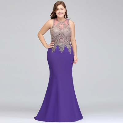Sexy Trumpt Crew Floor Length Sleeveless Plus size Evening Dresses with Appliques_9