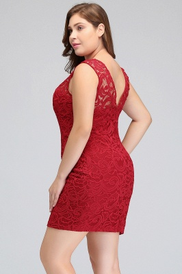 Sexy Trumpt Scoop Plus size Short Sleeveless Lace Cocktail Dresses_6