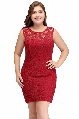 Sexy Trumpt Scoop Plus size Short Sleeveless Lace Cocktail Dresses_1