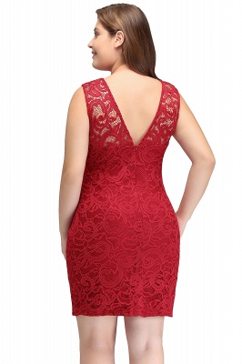 Sexy Trumpt Scoop Plus size Short Sleeveless Lace Cocktail Dresses_3