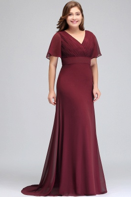 Sexy Trumpt V-neck Floor Length With Sleeves Plus size Burgundy Evening Dresses with Sash_8