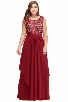 Summer Scoop Plus size Long Sleeveless Lace Appliques Chiffon Evening Dresses_1