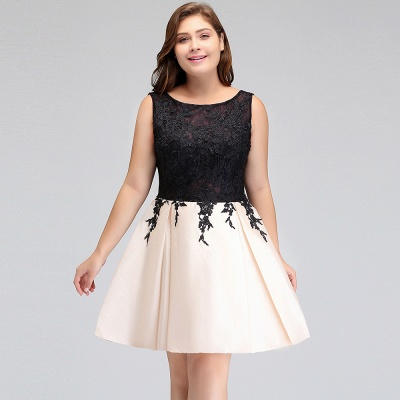Modest Scoop Short Sleeveless Plus size Cocktail Dresses with Appliques_9