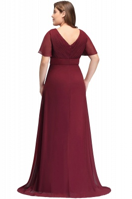 Sexy Trumpt V-neck Floor Length With Sleeves Plus size Burgundy Evening Dresses with Sash_3