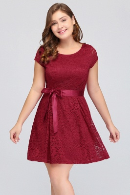 Summer Scoop Short Plus size With Sleeves Lace Burgundy Cocktail Dresses with Bow_5