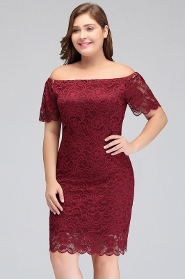 Sexy Trumpt Off-Shoulder Short Plus size Lace Burgundy Cocktail Dresses with Sleeves_4