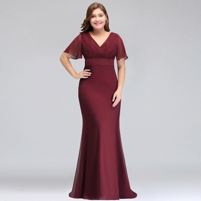 Sexy Trumpt V-neck Floor Length With Sleeves Plus size Burgundy Evening Dresses with Sash_6