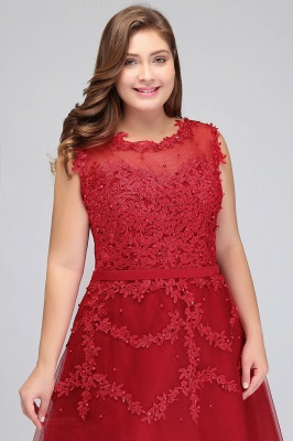 Summer Crew Tea Length Plus size Sleeveless Tulle Burgundy Cocktail Dresses with Appliques_7