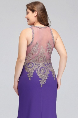 Sexy Trumpt Crew Floor Length Sleeveless Plus size Evening Dresses with Appliques_11