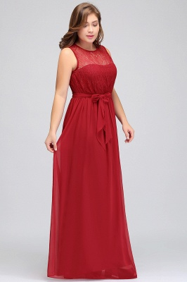 Summer Crew Long Sleeveless Plus size Chiffon Evening Dresses with Ruffles Bow_5