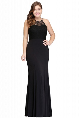 Sexy Trumpt Halter Floor Length Plus size Black Evening Dresses with Lace_1