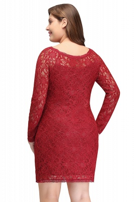 Column Scoop Short Winter Plus size Lace Burgundy Cocktail Dresses_3