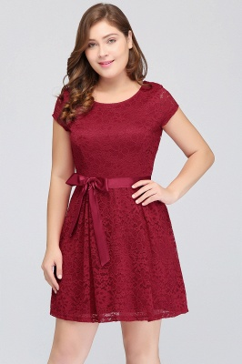 Summer Scoop Short Plus size With Sleeves Lace Burgundy Cocktail Dresses with Bow_6