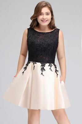 Modest Scoop Short Sleeveless Plus size Cocktail Dresses with Appliques_6