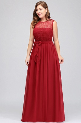 Summer Crew Long Sleeveless Plus size Chiffon Evening Dresses with Ruffles Bow_4