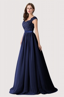 Summer V Neck Chiffon Bridesmaid Dress with Appliques_6