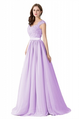 Summer V Neck Chiffon Bridesmaid Dress with Appliques_5
