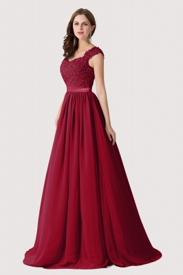 Summer V Neck Chiffon Bridesmaid Dress with Appliques_3