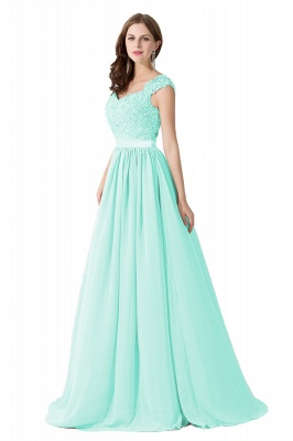 Summer V Neck Chiffon Bridesmaid Dress with Appliques_8