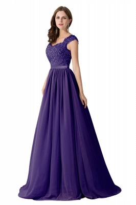 Summer V Neck Chiffon Bridesmaid Dress with Appliques_4