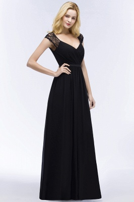 Summer V-neck Floor Length Lace Chiffon Bridesmaid Dresses UK with Sash_8