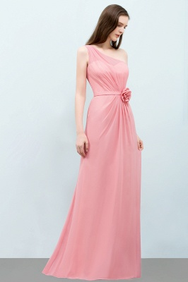 Sexy Trumpt Floor Length One-shoulder Ruffled Chiffon Bridesmaid Dresses UK with Flower_7