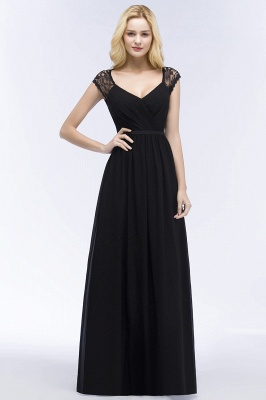 Summer V-neck Floor Length Lace Chiffon Bridesmaid Dresses UK with Sash_4