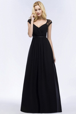 Summer V-neck Floor Length Lace Chiffon Bridesmaid Dresses UK with Sash_11