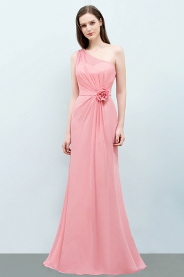 Sexy Trumpt Floor Length One-shoulder Ruffled Chiffon Bridesmaid Dresses UK with Flower_2