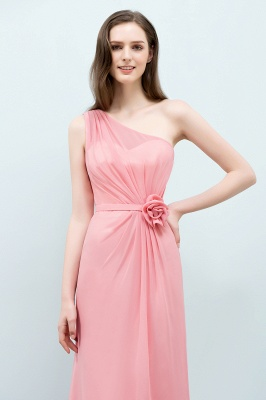 Sexy Trumpt Floor Length One-shoulder Ruffled Chiffon Bridesmaid Dresses UK with Flower_6