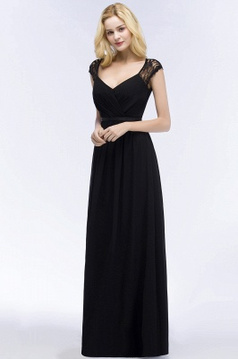 Summer V-neck Floor Length Lace Chiffon Bridesmaid Dresses UK with Sash_9